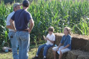 Taking a break at the edge of the corn maze, 2006