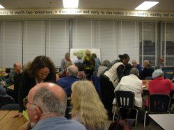 Over 50 residents attended the Community Input Meeting (CIM) for a proposed 56-lot subdivision on the grounds of the Jewish Community Center at Garrison Forest Road and Gwynnbrook Avenue