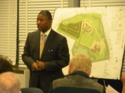Darryl Putty, Project Manager with Baltimore County's Department of Permits, Approvals and Inspections, explains the development plan approval process at the October 6, 2014 Community Input Meeting on the Associated Jewish Charities proposed 56-lot subdivision on Garrison Forest Road